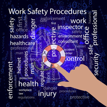inspector: Work Safety Procedures concept. Vector illustration for your design. Text on a blue background. The hand points to the lifebuoy and the sea anchor Illustration