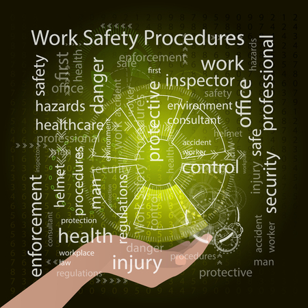 Work Safety Procedures concept. Vector illustration for your design. Text on a yellow background. The arm supports the inscription
