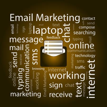 E メール マーケティング。コンセプトです。あなたのデザインのベクトル イラスト。前に web を開く文字のアイコンが暗い背景に黒のテキスト [四角