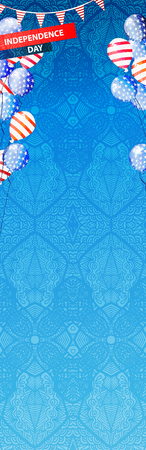 Independence Day USA. Air balloons fly up the sides of the sheet. Illustration