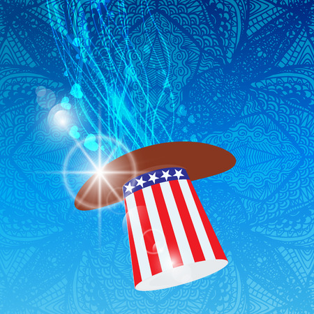 Independence Day United States. The hat of the Cylinders with the American flag coloring.