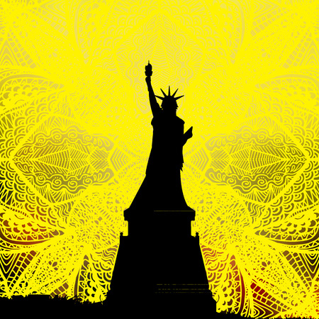 Independence Day United States. A statue of freedom on a yellow patterned background from a hand drawing. Illustration