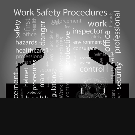 pressing: Safety procedures work concept of business development. Vector illustration for your design. With a background of a speaker stand with a microphone