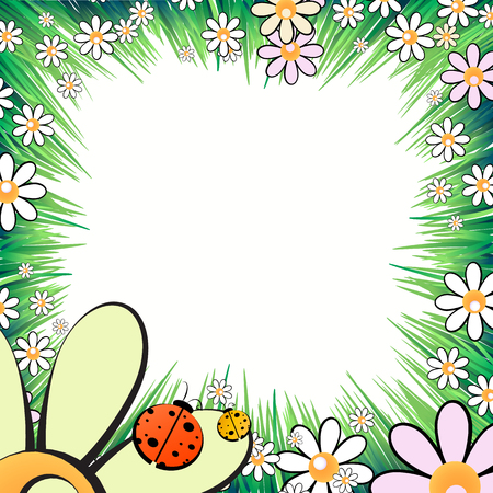 Photo frame summer. Vector illustration for your design. Ladybugs, insects on the grass with daisies. Square sheet orientation Ilustração