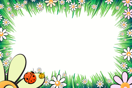 photo album: Photo frame summer. Vector illustration for your design. Ladybugs, insects on the grass with daisies. Horizontal sheet orientation