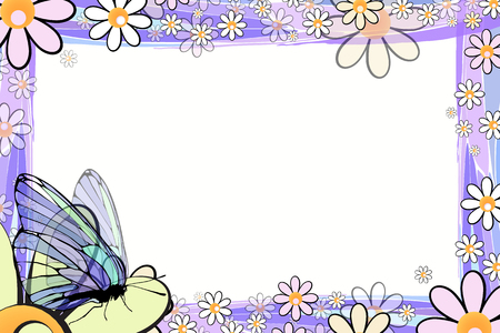 photo album: Photo frame summer. Vector illustration for your design. Elements of mosaic and butterflies on chamomiles. Horizontal sheet orientation