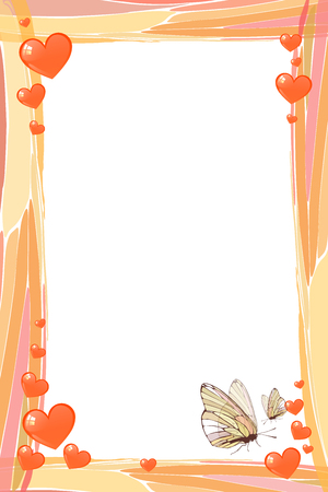 Fotorahmen Sommer. Vektor-Illustration für Ihr Design. Mosaik Elemente und Schmetterlinge mit Herzen. Vertikale Bogenausrichtung