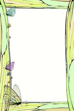 Fotorahmen Sommer. Vektor-Illustration für Ihr Design. Elemente aus Mosaik und Schmetterling. Vertikale Bogenausrichtung