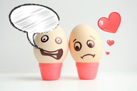 Eggs with painted face. Concept of failure. Sad faces. Photo for your design. With a cloud of thought. Place for text
