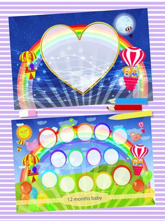 Bilderrahmen Regenbogen. Kinder Illustration für Ihr Design.