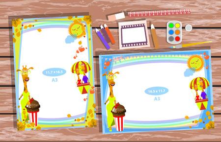 Fotorahmen auf dem Tisch. Horizontal und vertikal. Illustration für Ihr Design. Mit Rahmen mit Giraffenmädchen im gelben Kleid und Schokoladencocktail.