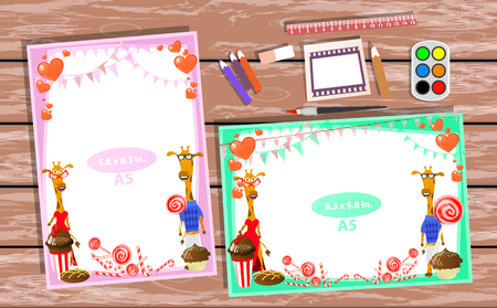 cupcakes isolated: Photo frame on the table. Horizontal and vertical. Illustration for your design. With frames with giraffes. A pair of giraffes with sweets.