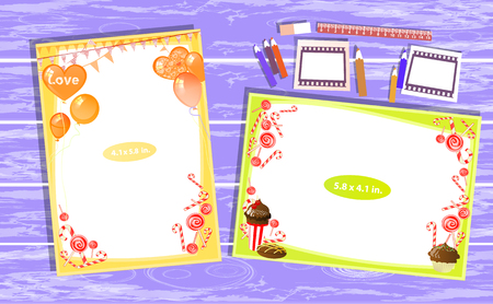 mixed wallpaper: Photo frame on the table. Horizontal and vertical. Illustration for your design. With ruler and pencils