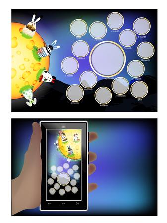 Fotorahmen von Mondkaninchen. Horizontale Illustration für Ihr Design.