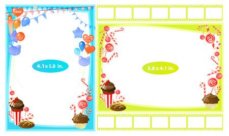 Fotorahmen mit Schokoladenbonbon in einem Glas. Horizontal und vertikal. Illustration für Ihr Design.