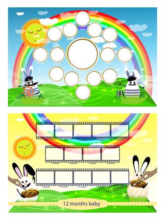 Fotorahmen von Hasen auf dem Rasen und dem Regenbogen. Horizontale Illustration für Ihr Design.