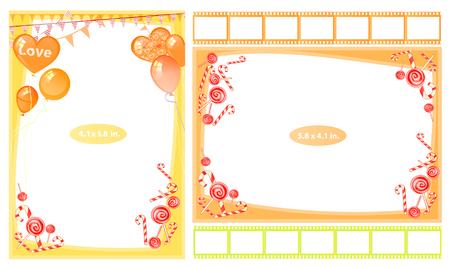 Fotorahmen mit Schriftrollen und süß. Horizontal und vertikal. Illustration für Ihr Design.