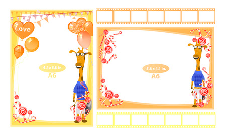 Photo frame with giraffe a6. Horizontal and vertical. Illustration for your design