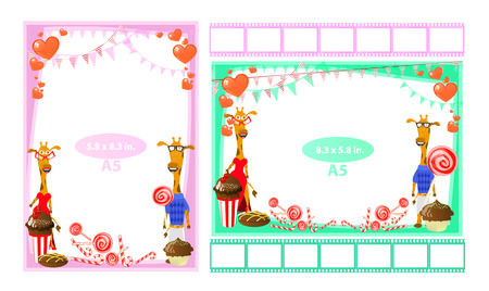 Photo frame with giraffes and sweet. Format a5. Horizontal and vertical. Illustration for your design. Illustration