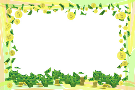 Photo frame monetary horizontal orientation of the sheet with coins. Illustration for your design.