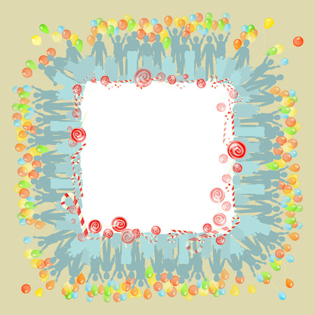 Photo frame with vozushny balls. Illustration for your design. Square orientation of the sheet.