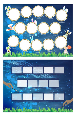 cadre: Photo frame hares. Twelve months of development and a blue background. Horizontal illustration for your design.