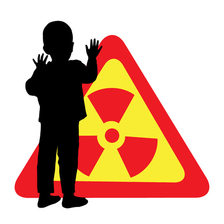 Child safety is a chemical hazard sign. The silhouette of a boy. Illustration for your design Illustration