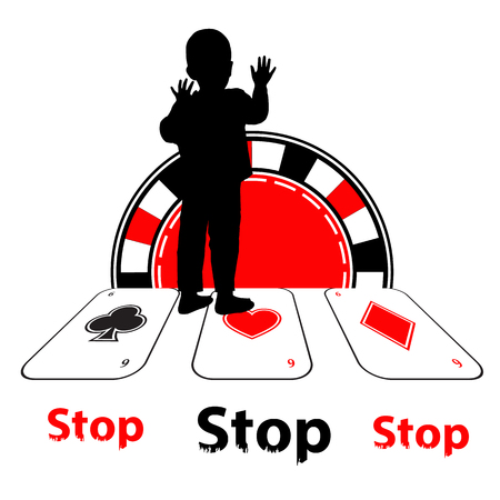 Stop the gamer. Danger concept. Illustration for your design. The boy silhouette lost his way in cards and poker chips.