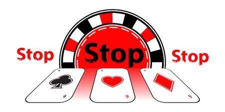 Stop gambling addiction. Danger concept. Illustration for your design. Cards and poker chips.