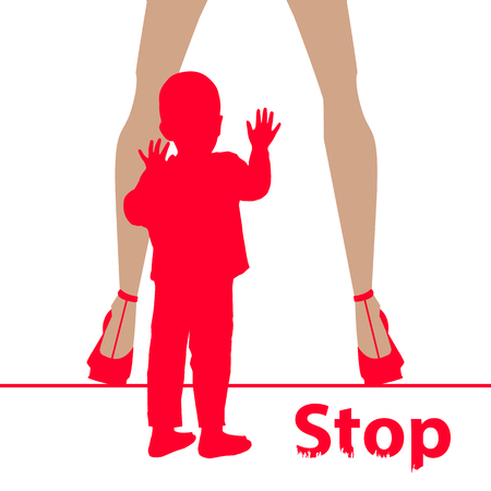 sex traffic: Stop before sex parenting. Danger concept for and against. Illustration for your design. The child is small and has female legs.