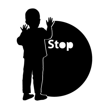 Stop gently children violence. Logo. Illustration for your design. The boy is silhouetted with the text and the circle. Monochrome
