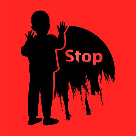 Stop voorzichtig met geweld voor kinderen. Logo. Illustratie voor uw ontwerp. De jongen wordt gesilhouetteerd met de tekst en de cirkel. Op een bloedige achtergrond