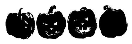 Halloween. Silhouette of a pumpkin monochrome. Black pumpkin on white. Logo. Illustration for your design.
