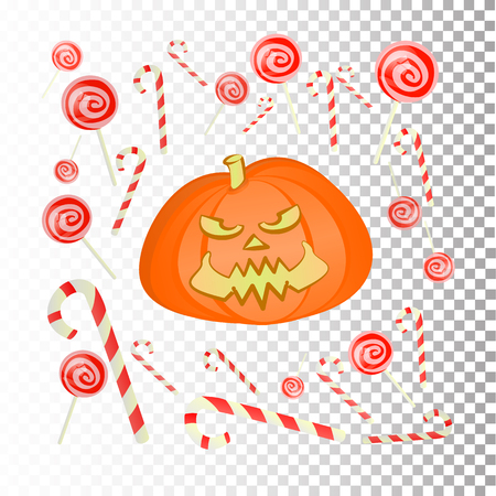 Halloween. Online Games. A funny pumpkin with sweets. Caramel and striped sticks on a background of squares. Illustration for your design. Ilustração
