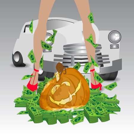 Halloween. Online Games. Victory and jackpot. A magic pumpkin and a girl. You win: money and machine. Illustration for your design.