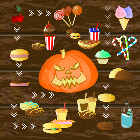 all saints day: Halloween. Orange pumpkin fire. Among the food. Sweets and candy illustration for your design. Illustration