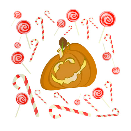 Halloween. Online Games. A funny pumpkin with sweets. Caramel and striped sticks. Illustration for your design.