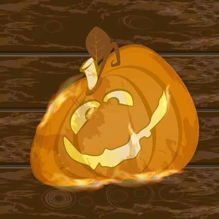 Halloween. Online Games. A funny pumpkin on the background of a wooden table. Illustration for your design. Illustration