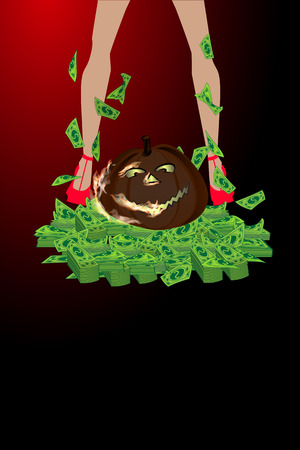 Halloween. Online Games. Victory and jackpot. Magic pumpkin and sexy girl legs. A lot of money. Illustration for your design.