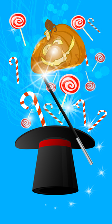 Halloween. Orange pumpkin fire from the magicians hat. Sweets and candies illustration for your design.