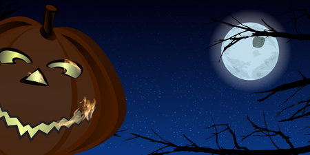 Halloween. The night sky and glowing gay pumpkin among the branches of trees and the full moon. Illustration for your design.