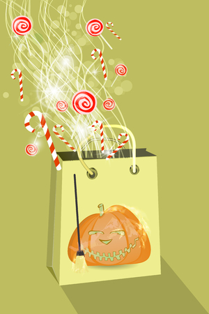 Halloween. Buy a package with pumpkin. Collection of sweets. Childrens tradition. Candy and lollipops. Illustration for your design.
