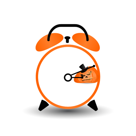 Halloween. It's time. The day before. the clock struck. pumpkin. Illustration for your design.