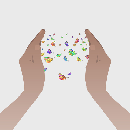 Love concept. Hands holding butterflies. Flying up. Let go of love