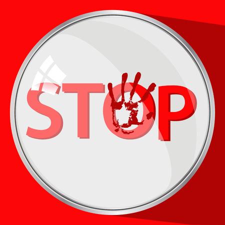 Stop het geweldconcept. ronde knop. rood spoor met de hand. illustratie voor uw ontwerp.