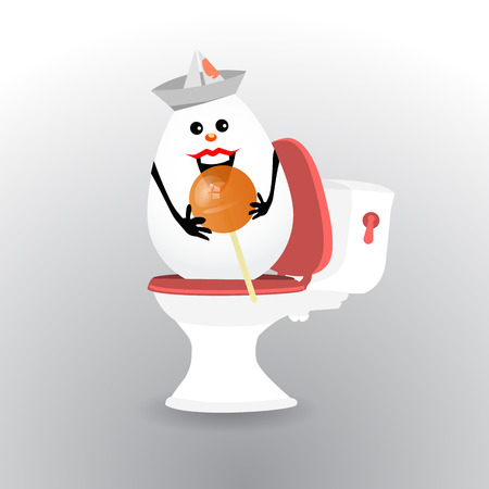 Diarrhea and bloating concept. a funny egg with a sweet round candy on a stick, sitting on the toilet. Not the right food. illustration
