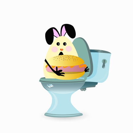 Constipation concept. Funny and funny. a hare on the toilet. Not proper nutrition. facies. photo for your design