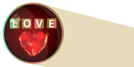 brushed: Love the concept of a button. a brushed heart and an inscription. illustration for your design