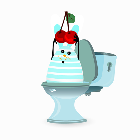 diarrhea concept. funny illustrations. a rabbit and a toilet with a cherry.