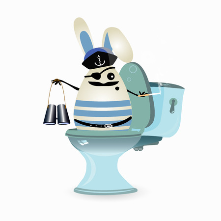 diarrhea concept. funny illustrations. rabbit on the toilet with binoculars. captain on a ceramic ship.